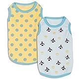 Blueberry Pet Doppelpack Weich & Angenehm Baumwoll-Frottee Pastellblau Zuneigung Designer Schlaf & Spiel Hundepyjama & Top T-Shirt, Rückenlänge 36cm