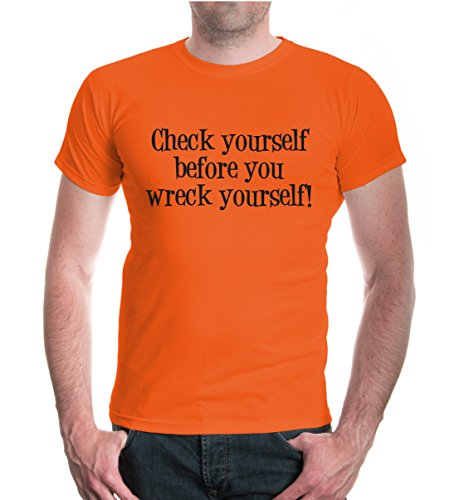buXsbaum® T-Shirt Check yourself before you wreck yourself Orange-Black