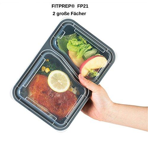 FITPREP [7er Pack] Original 2-Fach Meal Prep Container | Stapelbar, Wiederverwendbar, Spülmaschinenfest, Mikrowellen-, Gefrierschrankgeeignet, verstärkter Deckel | Bento Box | Lunchbox Frischhaltebox - 2