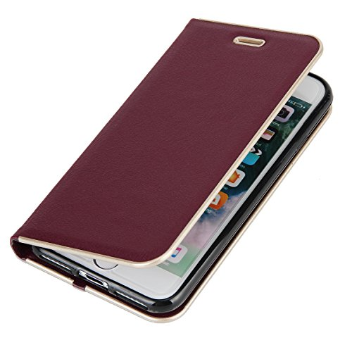 CaseforYou Hülle iPhone 7 Deckung Gehäuse Litchi Grain Pattern PC + PU Leather Protective Deckel Case Magnetic Closure Flip Stand Cover mit Card Slot Schutz für iPhone 7 (Burgundy) Burgund