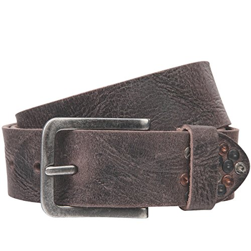 Lindenmann The Art of Belt Womens leather belt/Mens leather belt, full grain leather belt with rivets, Unisex, dark brown