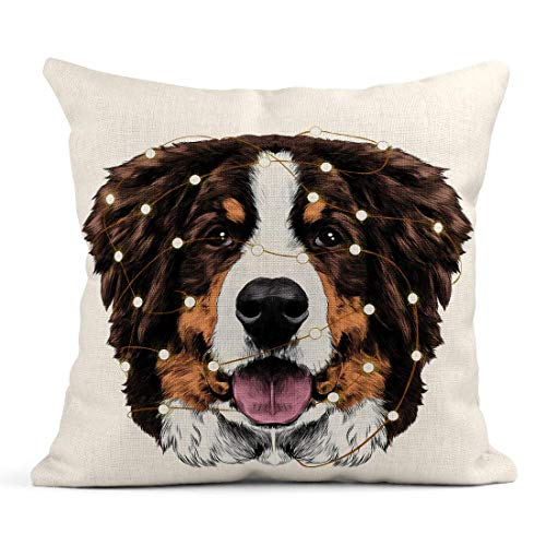 WBinHua Zierkissenbezüge, Throw Pillow Covers, Decor Flax Case The Dog Head is Symmetrical Front Bernese Mountain Tangled in Christmas Lights 18