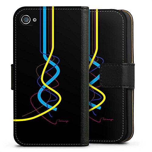 Apple iPhone X Silikon Hülle Case Schutzhülle Striche Muster Farbe Sideflip Tasche schwarz