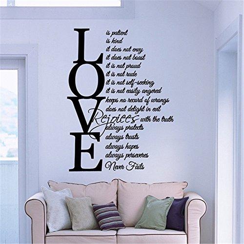 Wand Aufkleber Wandbild Kunst Aufkleber Bibel Verse Christian Love ist geduldig Art nie versagt Abziehbild Home Decor Zitate Kunst Dekor