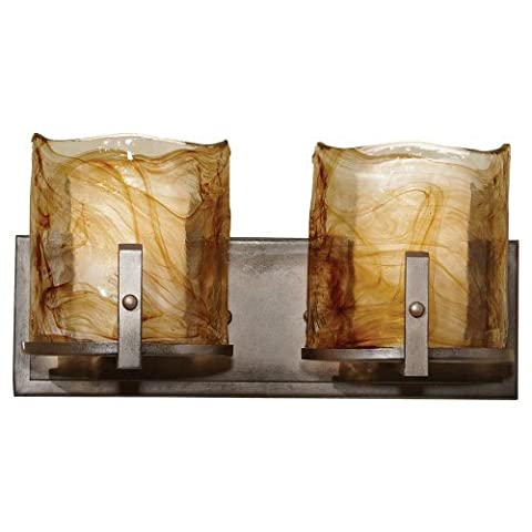 Murray Feiss VS18902-RBZ Aris Collection 2-Light Vanity Fixture, Roman Bronze Finish with Amber Swirl Art Glass by Murray Feiss