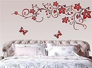 ufengke® Fiore Rosso Della Vite e Farfalle Adesivi Murali, Camera da Letto Soggiorno Adesivi da Parete Removibili/Stickers Murali/Decorazione Murale