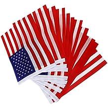 Americano Mano Usa Noi Sventolando Bandiera Mini Banner Con Aste Di Plastica 12pcs
