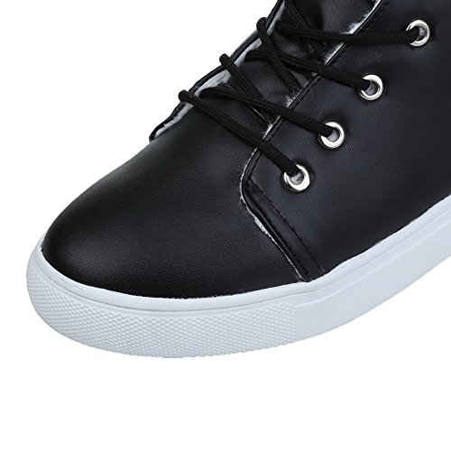 VogueZone009 Donna Cuneo Bassa Altezza Puro Allacciare Stivali con Nodo Nero
