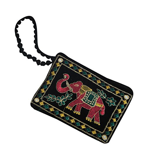 Kuber Industries™ Designer Mobile-Phone Pouch Cover With Hand Dori For Women: Rich Embroidery In Traditional Indian Style (Black) - BG55  available at amazon for Rs.169