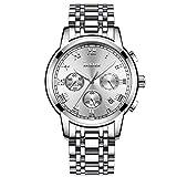 Uhr Herren Armbanduhren Business Analog Quarz Edelstahl Blau/Silber Chronograph Uhr für Männer (Silber)