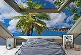Tropischer Strand 3D-Dachfenster-Ansicht Fototapete Fotomural - Wandbild - Tapete - 368cm x 280cm / 4 Teilig - Gedrückt auf 115gsm Muralpapier - 10414P10 - Tropisch