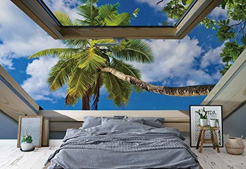 fototapete dachfenster Tropischer Strand 3D-Dachfenster-Ansicht Fototapete Fotomural - Wandbild - Tapete - 368cm x 280cm / 4 Teilig - Gedrückt auf 115gsm Muralpapier - 10414P10 - Tropisch