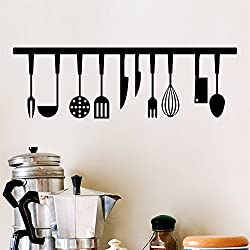 Dinglong 3D CuillèRe Fourchette Spatule Stickers Muraux Restaurant DéCoration De La Maison Outils De Cuisine Stickers Muraux Lettres Noires Art Mural Papier Peint DIY
