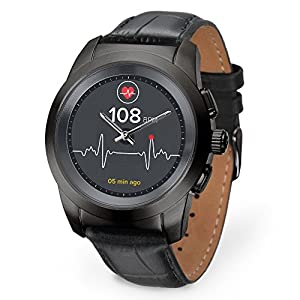 MyKronoz ZeTime Premium Hybrid Smartwatch 44mm with mechanical hands over a color touch screen