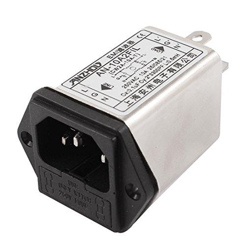 sourcingmap® IEC C14 Stecker mit Befestigungschraube an Stromleitungen EMI Filter Schmelzgals Sockel AC250V 10 A
