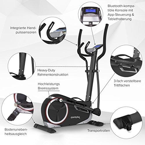 SportPlus Crosstrainer mit App-Steuerung, Google Street View, Wattanzeige, ca. 17kg Schwungmasse, 24 Widerstandsstufen, Handpulssensoren, Nutzergewicht bis 150kg, Sicherheit geprüft Bild 3*