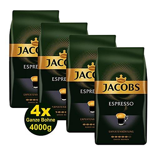 Jacobs ESPRESSO Expertenröstung, Ganze Bohne 4x 1000g (4000g) - Ausgewählte Kaffee Sorten!
