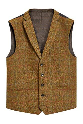 next Herren Karierte Weste Aus Harris-Tweed Senf EU 101.5 Lang (UK 40L) (Tweed Harris Sakko)