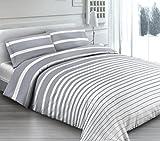 ANGEBOT komplett Bettwäsche Doppelbett Riga grau–in italienischer Baumwolle–Made in Italy Qualitätsprodukt