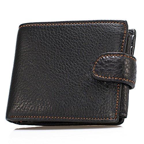 Yilen da uomo, colore: nero, motivo: mucca, in pelle, design a portafoglio, capacità Fermasoldi-Custodia 3-in-1 Nero nero