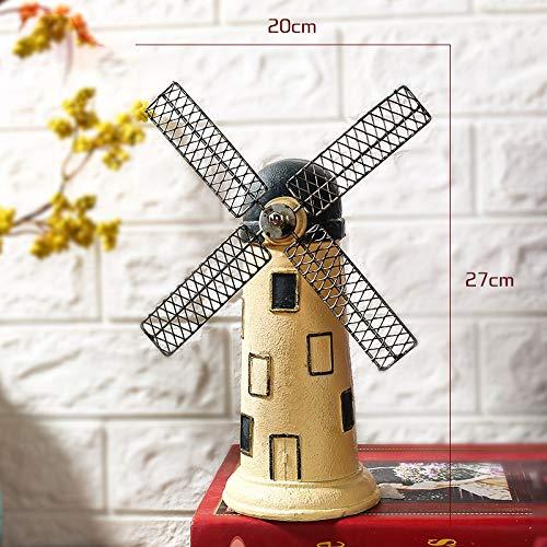 SMAQZ Vintage Holländische Windmühlen-Harz-Handwerks-Dekoration, Kreative Sparschwein-Beige -