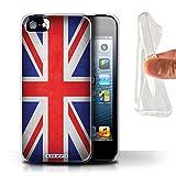 Stuff4 Coque Gel TPU de Coque pour Apple iPhone 5/5S / Royaume-Uni/Britannique Design/Drapeau Collection