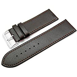 Brown Leather Watch Strap Band With A Stitched Edging And Nubuck Lining 26mm