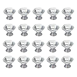 Mydio Mydio 30mm Crystal Glass Diamond Shape Cabinet Knob Drawer Pull Handle Kitchen Pack of 20