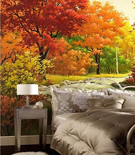 Qqasd Benutzerdefinierte 3d Wandbild, Red Maple Forest River Gemälde Hotel Restaurant Wohnzimmer Sofa TV Wand Schlafzimmer Tapete-150X105CM -
