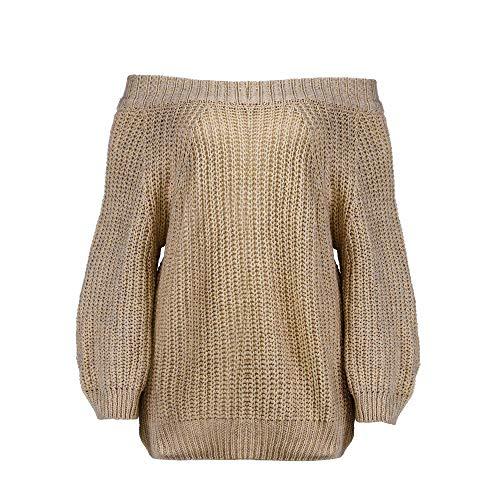 (Damen Elegant Langarm Schulterfrei Pullover Sweater Übergroß Strickpullover Bluse Tops Oberteil MYMYG Frauen Herbst Langarm Off Schulter Sweatshirt(B3-Khaki,EU:46/CN-XL))