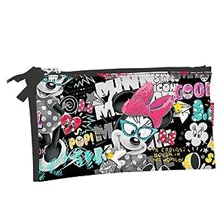 Minnie Mouse-54184 Estuche portatodo Triple Plano,, 22 cm (Montichelvo 54184