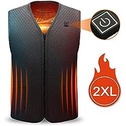 Chaleco eléctrico calentado, Chaleco térmico eléctrico de 5V con carga USB lavable para hombres y mujeres, 5 almohadillas térmicas, 3 temperaturas ajustables, chaleco eléctrico para esquí, caza