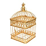 #6: Scrafts Square Big Golden Metal Cage For indoor/outdoor Decoration,Hanging Bird Cage, Balcony/Hanging Candle Holder/Hanging Plant Holder/Hanging Small light Holder for Wedding Décor/Party Décor/LBH(INCHES)-9x9x16.5