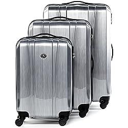 FERGÉ Set di tre valigie DIGIONE - bagaglio rigide duro da 3 - tre pz. valigie con 4 ruote (360) ABS & PC alluminio
