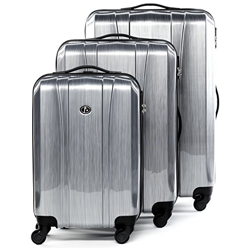 FERGÉ Set di 3 valigie Dijon - leggero bagaglio rigide dure da 3 ABS & PC duro tre pz. valigie 4 ruote (rotelle multidirezionali 360°) argento
