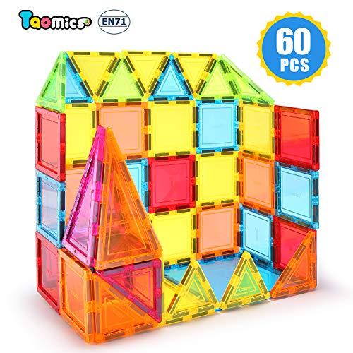 Taomics 60PCS Magnetische Bausteine, Starke 3D klare Fliesen Kinder pädagogisches Stapeln Spielzeug für Phantasie Inspirativ räumliche Gehirnentwicklung, Magnet Konstruktion Blocks Spielbrett Set - Spielzeug Kinder Stapeln