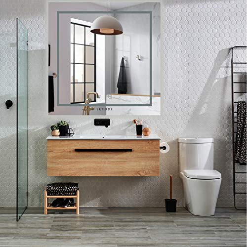 LUVODI Espejo de Baño LED 80 x 80cm Espejo Antivaho para Baño Pared con Interruptor Táctil 3 Modos...