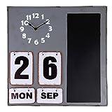 Rustikale Wand Uhr Magnettafel und Kalender aus grauem Metall mit Kreide Tafel Memo Bord