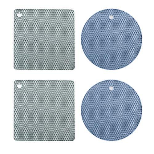 UPKOCH 4 stücke Wärmedämmung Tischset Silikon Drain Pad Küchentisch Tasse Matte (Blauer Kreis + Graues Quadrat) -