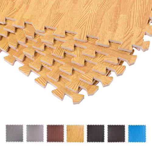 BodenMax dick Schutzmatte Set Fitness-12 Puzzlematten Bodenschutzmatten | Unterlegmatten | Fitnessmatten für Bodenschutz - Sport, Fitnessraum, Keller Holzoptik