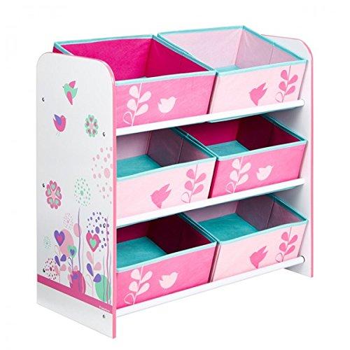 Flowers & Birds Kids Storage Toy Organizer Mädchen Vögel Blumen Aufbewahrungsboxen Kinderregal 6 Boxen