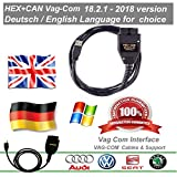 Vag Com 18.2.1 ✔ Hex + Can Diagnosekabel VW Audi Skoda Seat ✔ Englische und Deutsche Sprache ✔ 2018 Version ✔