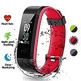 Lacyie Fitness socken Uhr mit Pulsmesser Intelligente Uhr Fitness Tracker Schrittzähler Doppeltes Farben Bluetooth Fitness Tracker IP68 Wasserdicht SchlafMonitor Kompatibel mit Android & IOS (Rot)
