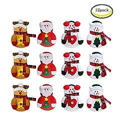 Idea Regalo - CHBOP Confezione da 12 Pezzi Tuta da Natalizio con Posate da Taschino Tasche Portamonete coltelli Borsa da Babbo Natale Pupazzo di Neve Alce Natale Decorazione