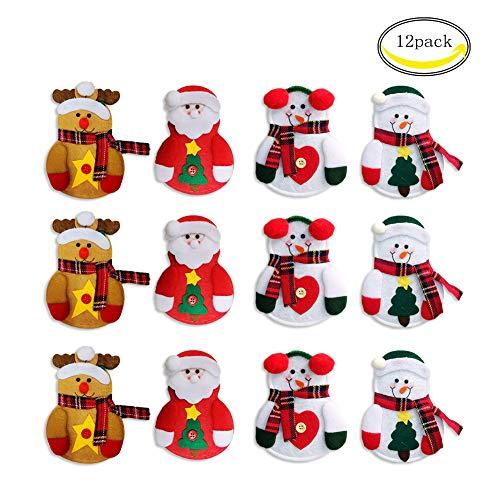 Chbop confezione da 12 pezzi tuta da natalizio con posate da taschino tasche portamonete coltelli borsa da babbo natale pupazzo di neve alce natale decorazione