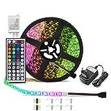 Ruban LED Etanche 5M, ICONNTECHS 150 LED 5050 RGB SMD Multicolore Bande LED Lumineuse avec Télécommande à Infrarouge 44 Touches et Alimentation 12V décoration pour Chambre, Noël, Fête, etc.