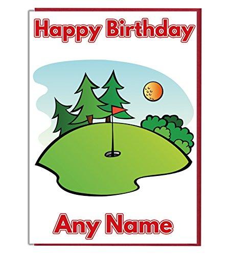 P3-karte (Golfplatz Putt Personalisierte Geburtstagskarte-Jeder Name und Alter Druck auf der Vorderseite)