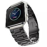 Bracelet Fitbit, iitee de luxe en acier inoxydable véritable montre sangle bande poignet montre pour bracelet Fitbit Blaze Tracker d'activité