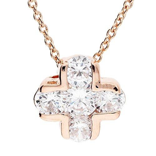 MYA art Damen Halskette Kette Kreuzanhänger Kreuz mit Swarovski Elements Kristallen in Diamant Form Edelstahl Rosegold Vergoldet Rose Gold MYARGKET-19