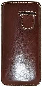 Original Suncase Echt Lederhülle für Apple iPhone 5 / 5S (Tasche mit Rückzugfunktion) in braun